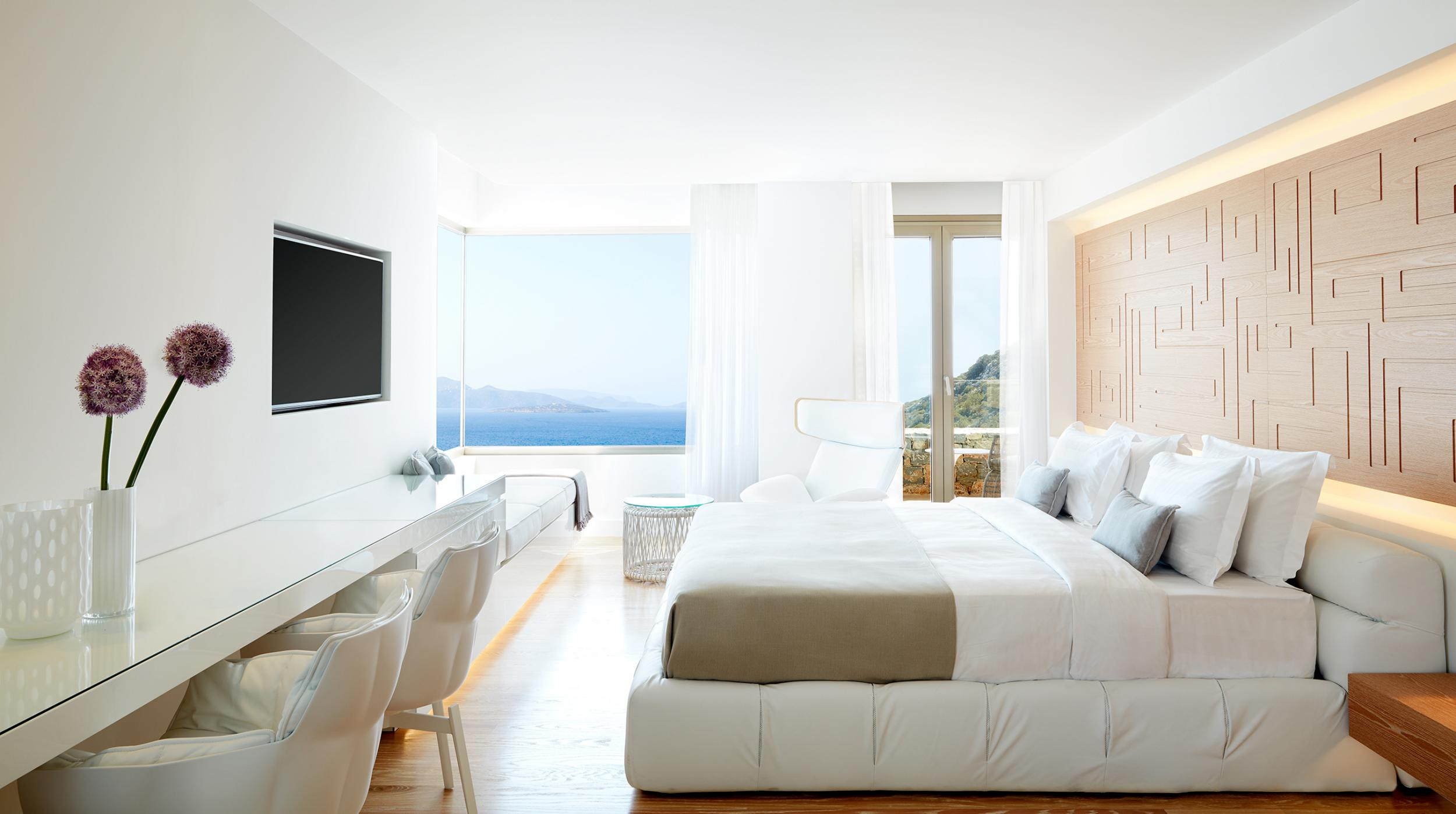 Daios Cove Mantion master bedroom with view