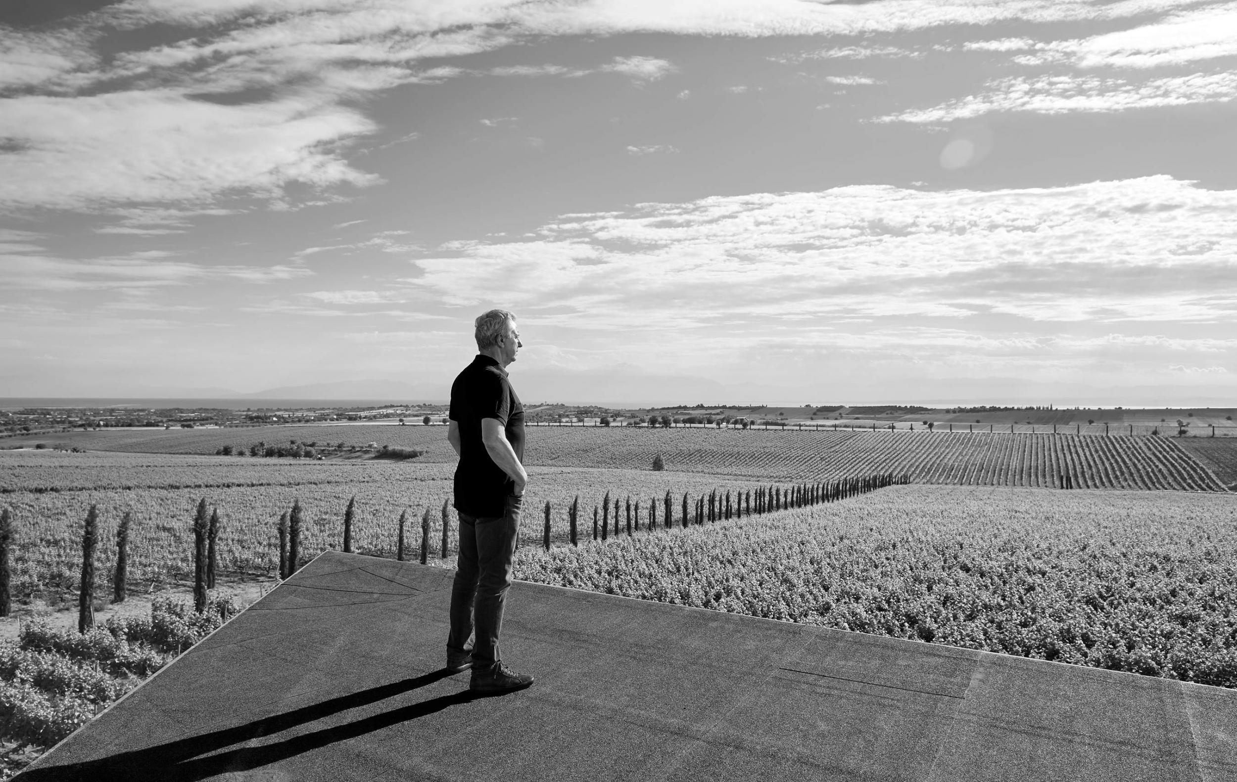 Vaggelis Gerovassiliou on the roof of his winery overlooking the vinyards