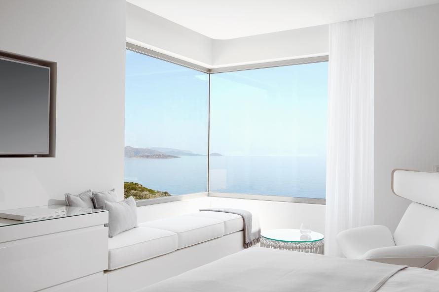 Daios Cove Mantion bedroom with view